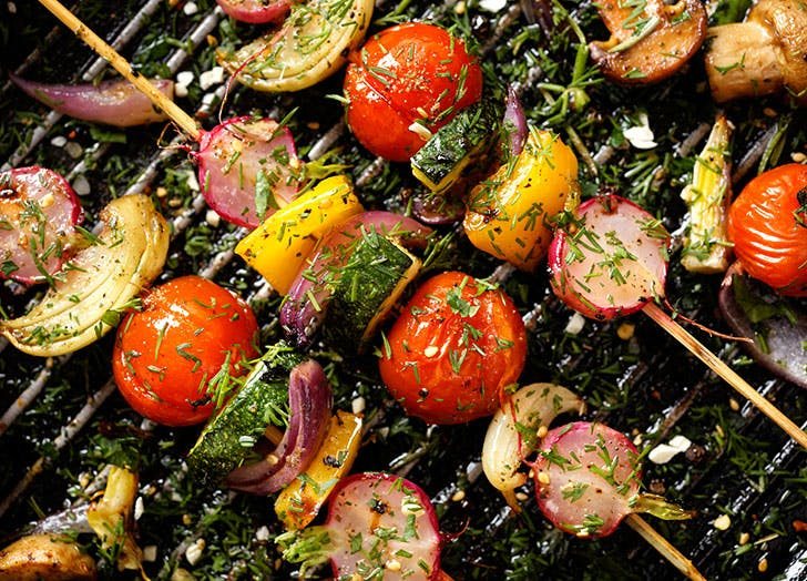 Grilled vegetables kebabs