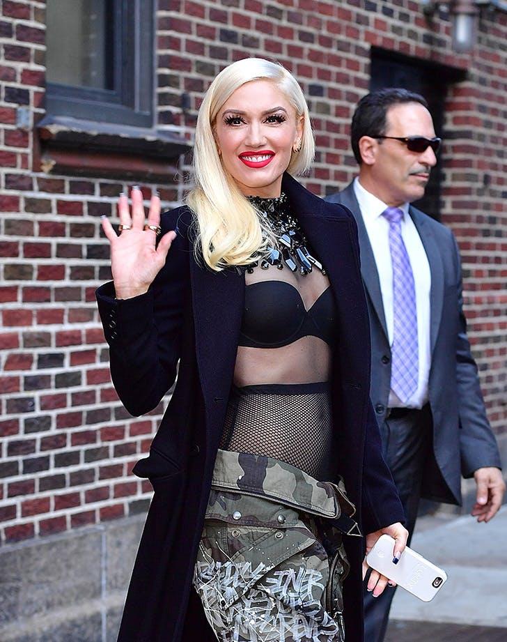 Gwen Stefani Fishnets No Shirt