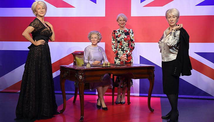 Helen Mirren Posing with Wax Figure