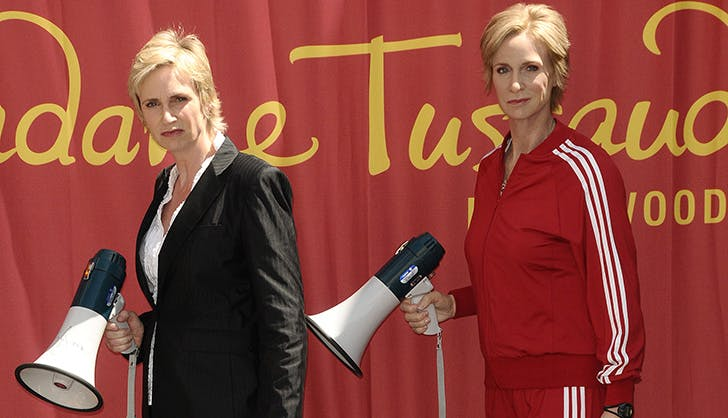 Jane Lynch Posing with Wax Figure