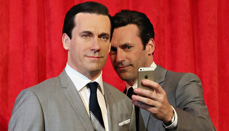 Jon Hamm Posing with Wax Figure