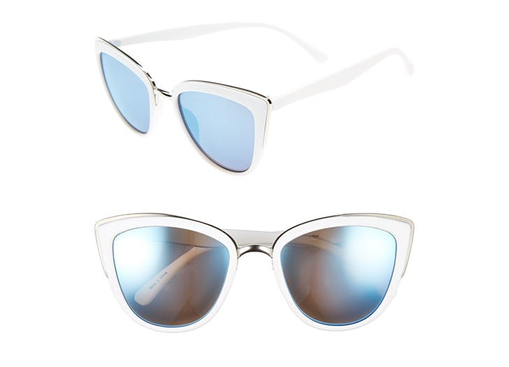 NY sunglasses white cat eyes LIST