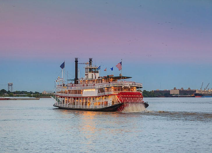 New Orleans paddle steamer on the Mississippi River