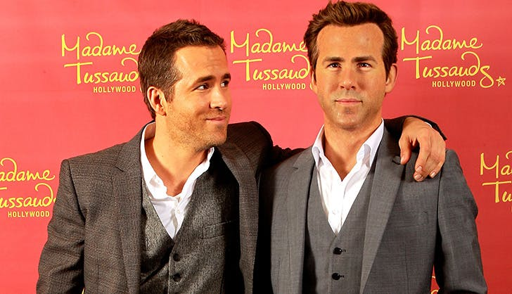 Ryan Reynolds Posing with Wax Figure