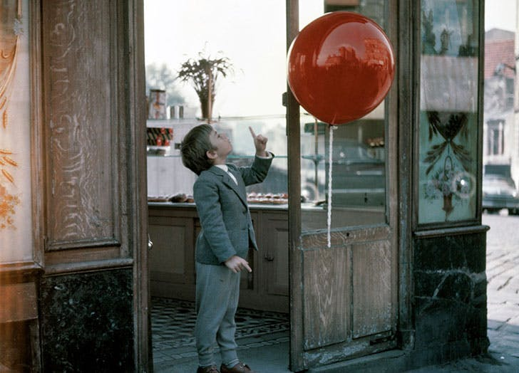 Scene from French classic short film The Red Balloon