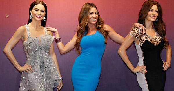 Sofia Vergara Posing with Wax Figure