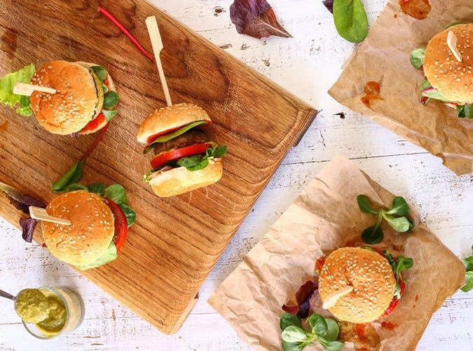 Sweet Chili Pesto Burger Sliders