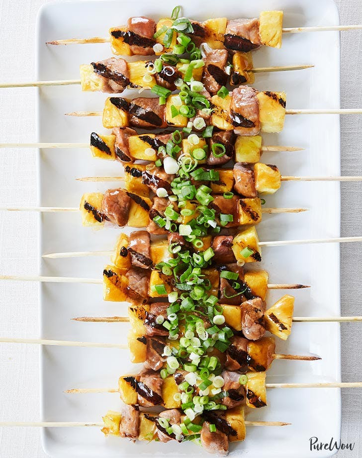 Sweet and sour pork skewers with pineapple