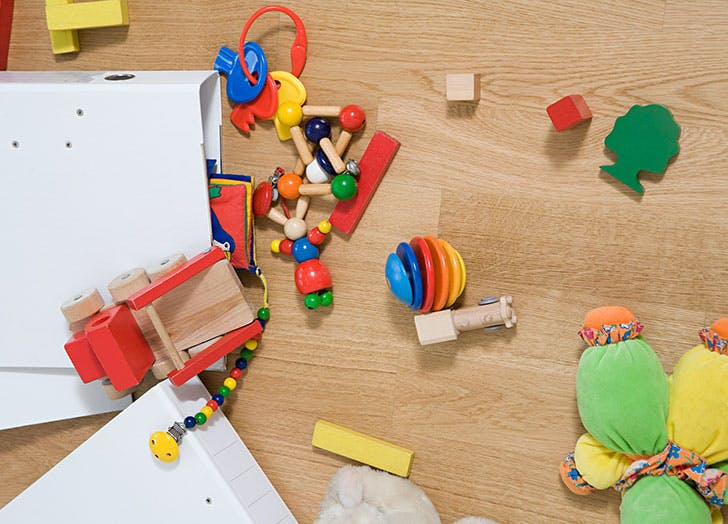 Toys and mess on the floor
