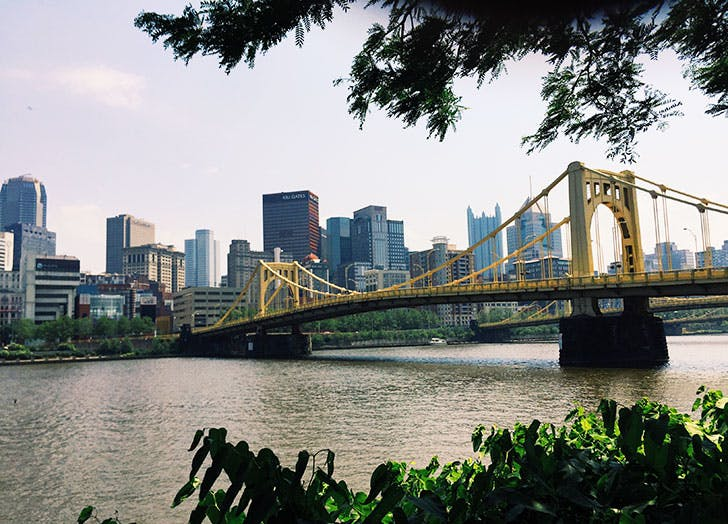 View of the river and bridge in Pittsburgh  Pennsylvania