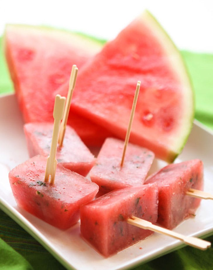 Watermelon popsicles in ice cube tray molds