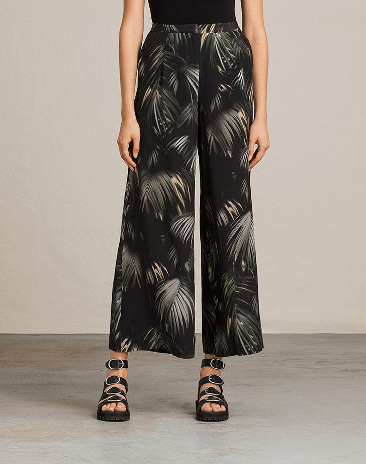 allsaints wide leg pants tropical prints NY