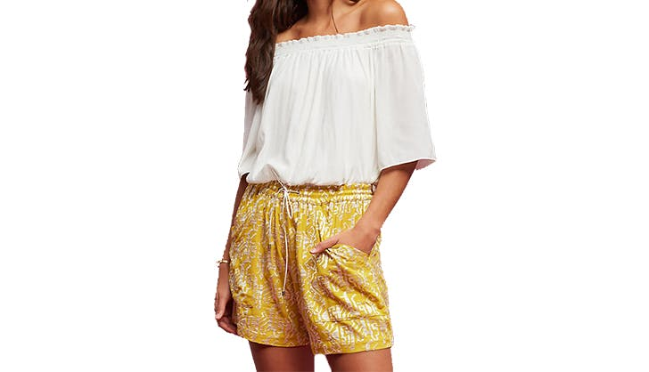 anthro yellow embroirdered shorts