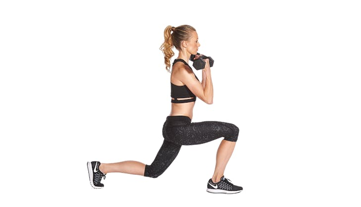 back lunge to curl