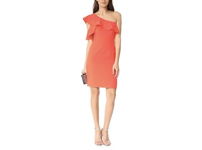 black halo orange dress