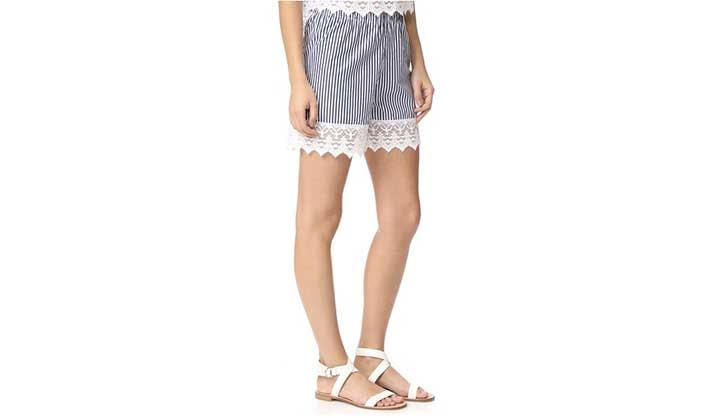 blue and white stripe lace shorts