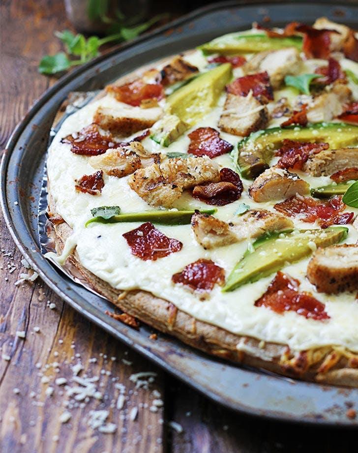 chicken alfredo bacon avocado pizza LIST
