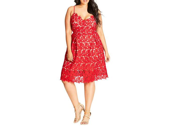 city chic red lacy dress