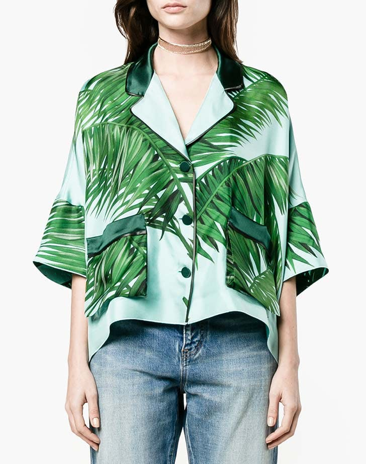 for restless sleepers pajama top tropical prints NY