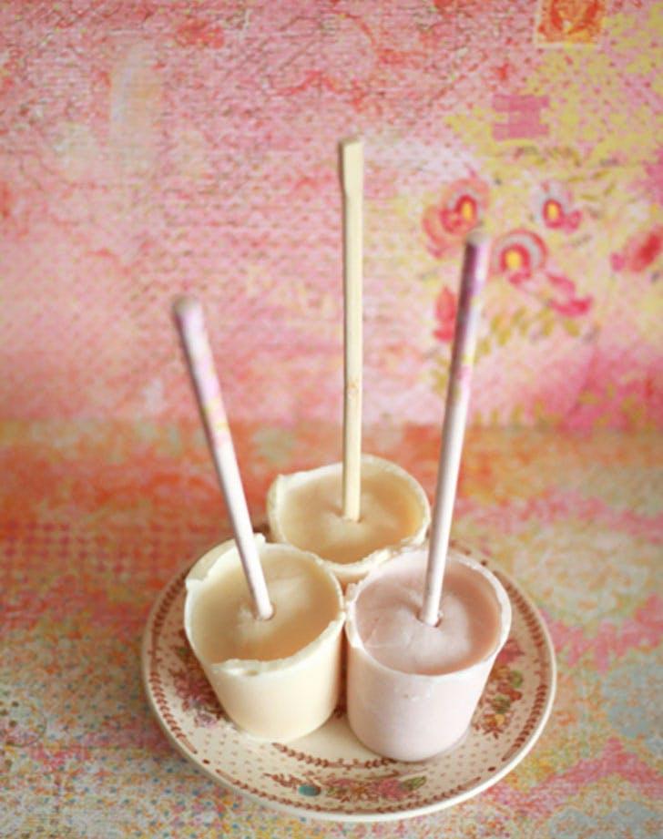 frozen yogurt popsicles made in yogurt containers1