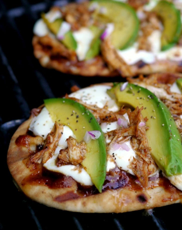 grilled avocado barbeque chicken naan pizza LIST