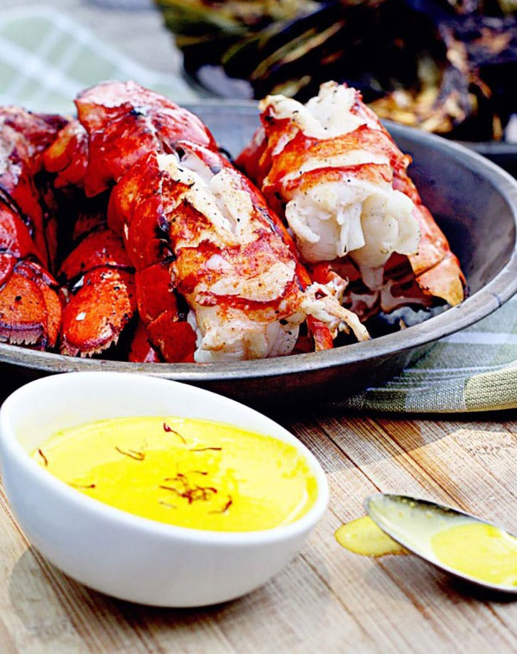 grilled lobster tails safron aioli