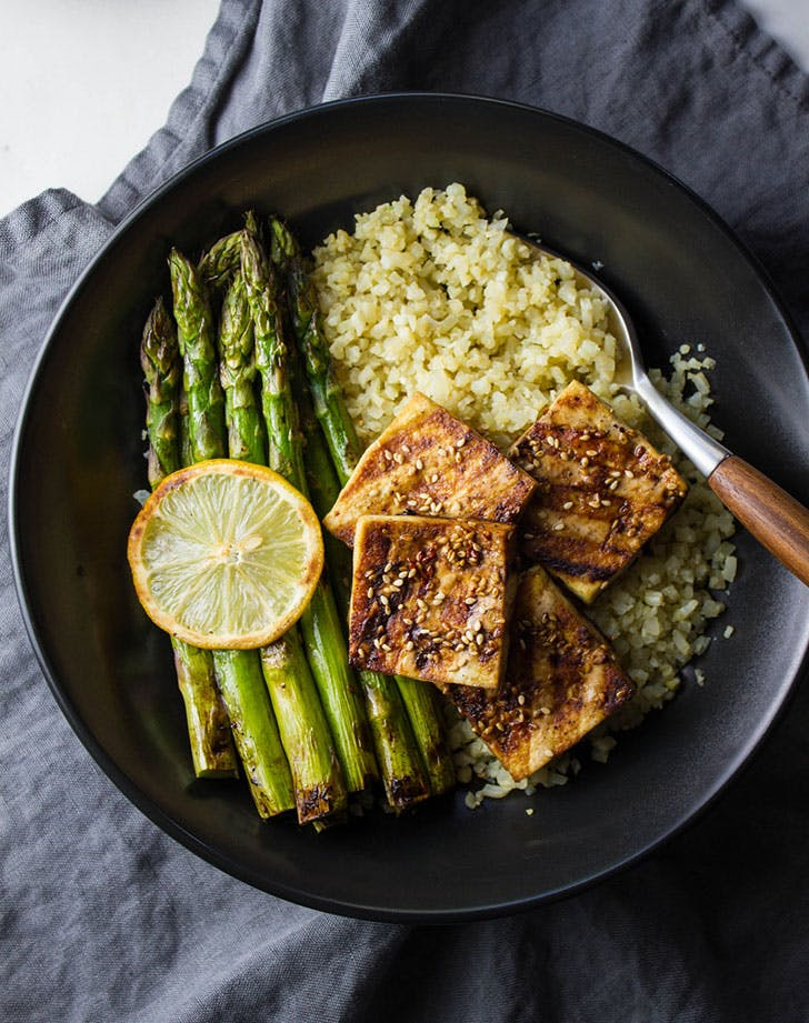 grilled tofu asparagus ginger cauliflower rice