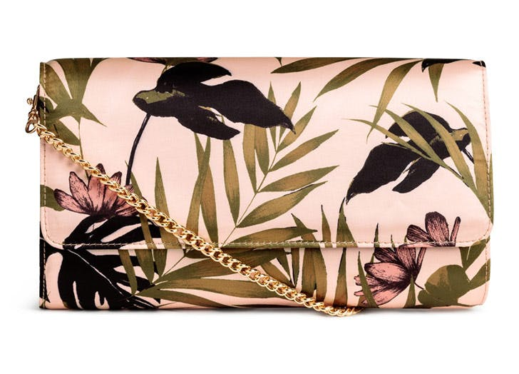hm pink satin clutch tropical prints NY