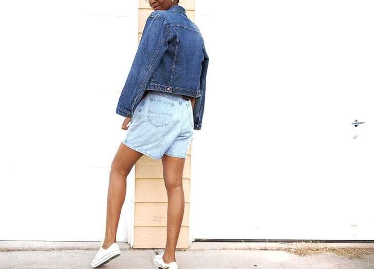 how to wear jean shorts jean jacket
