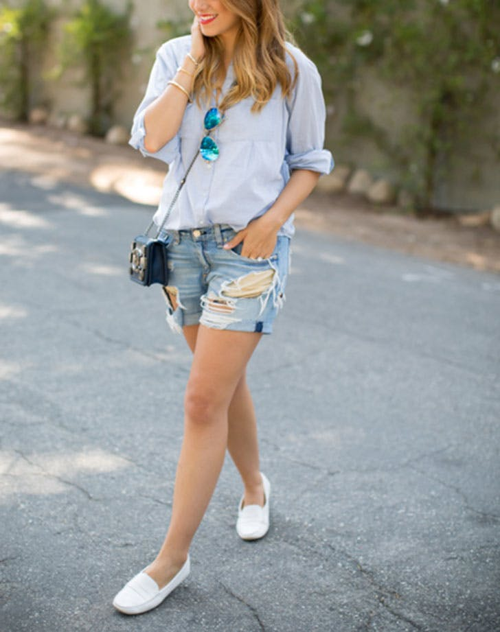 how to wear jean shorts loafers