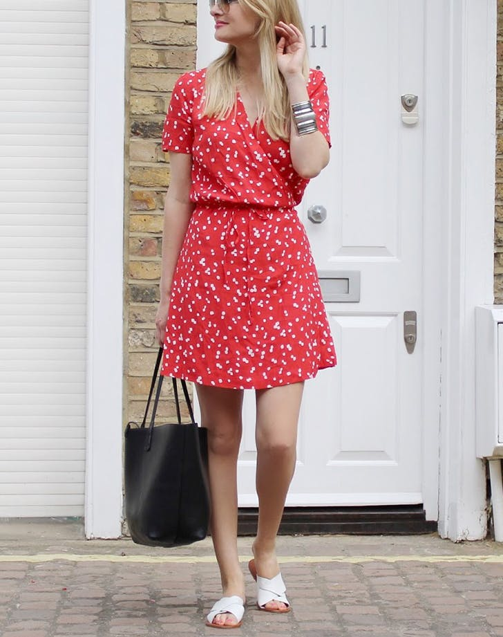 how to wear wrap dresses with mules hi res
