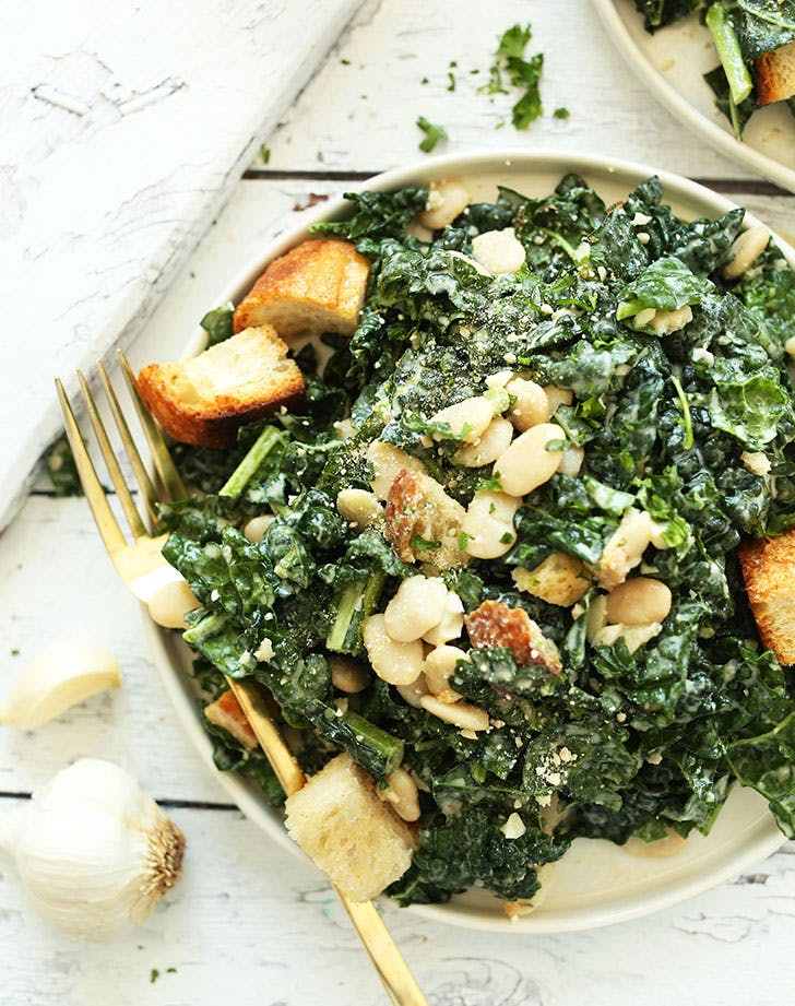 no cook summer dinners kale white bean salad