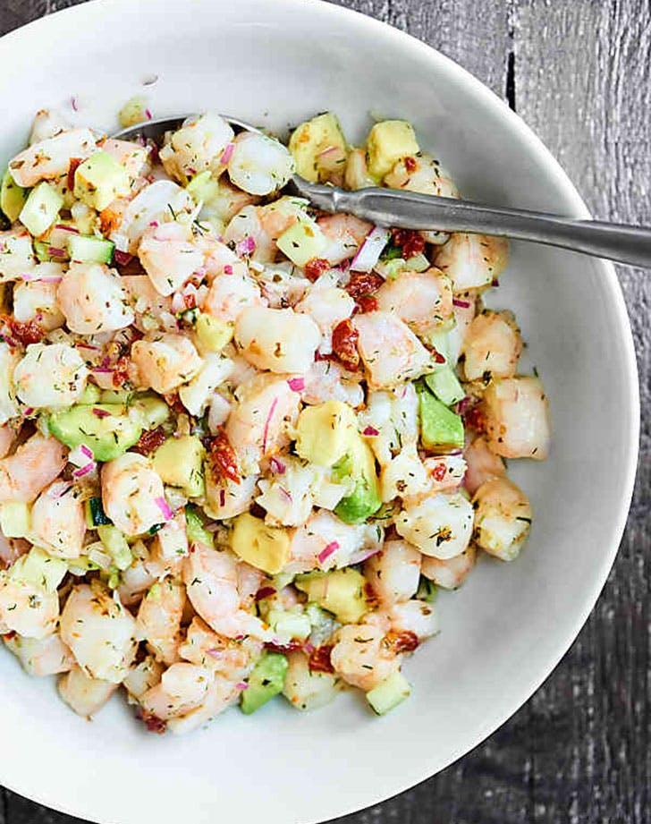 no cook summer dinners shrimp avo salad