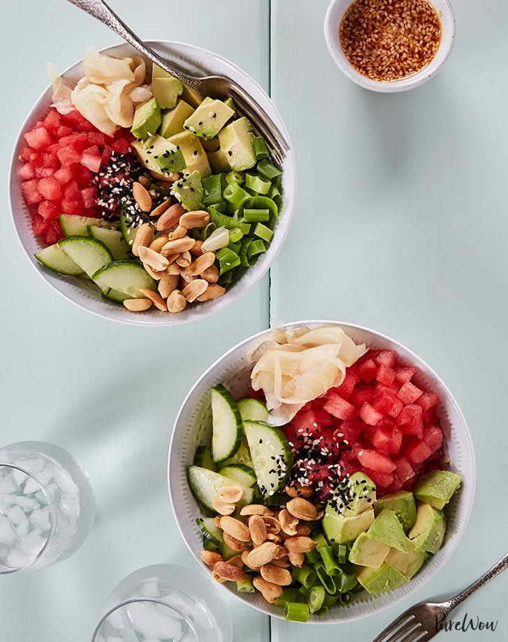 No oven dinner recipes to make in the summer purewow july 1 watermelon poke bowls forumfinder Choice Image