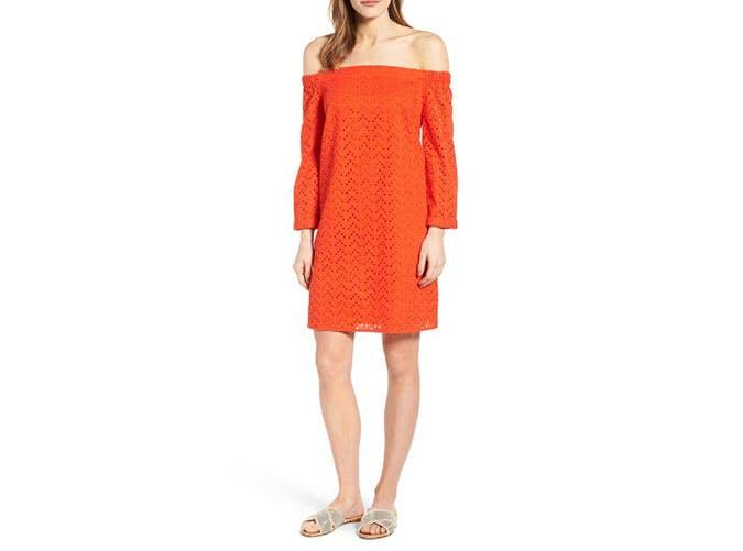 nordstrom sale orange off the shoulder dress
