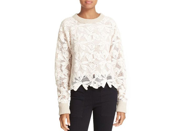 nordstrom sale white lace sweater