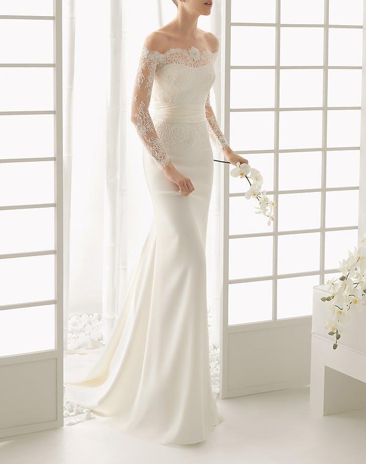off shoulder wedding dress 1