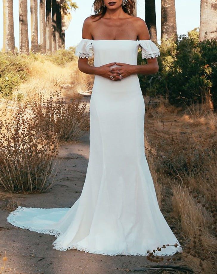 off shoulder wedding dress 7