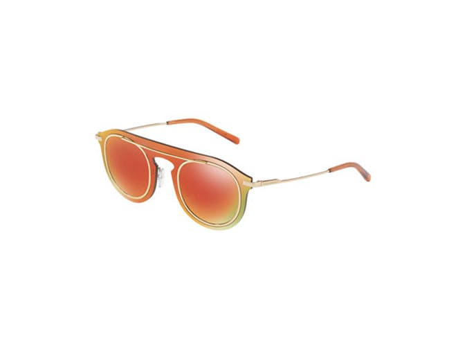 orange dolce and gabbana mirrored sunglasses