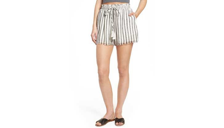 silk striped shorts