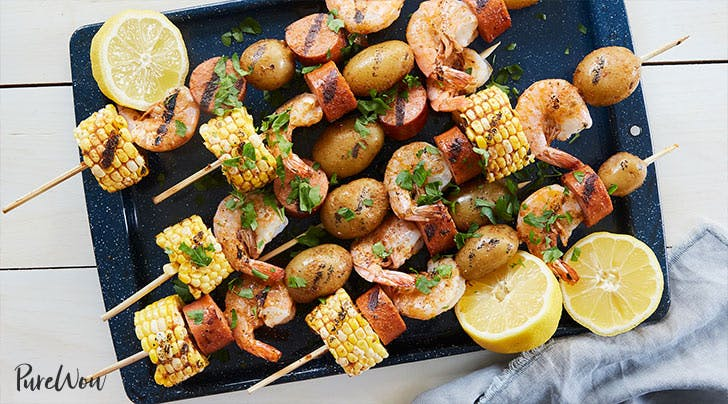 Shrimp Boil Skewers with Corn, Sausage and Potatoes
