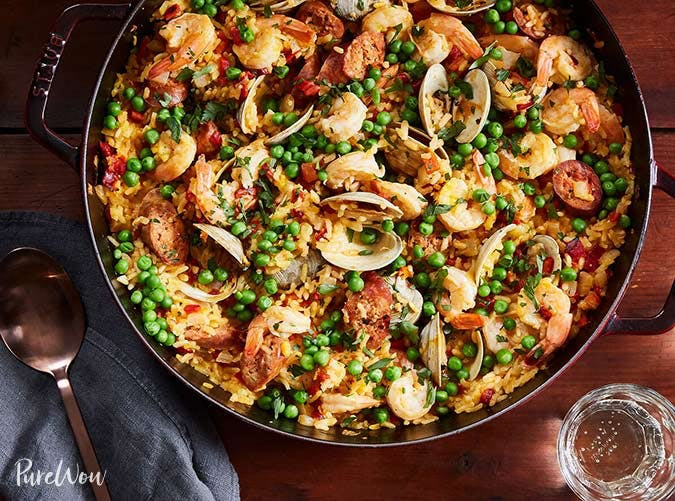 25 low maintenance summer dinner party recipes purewow skillet paella 501 forumfinder Gallery