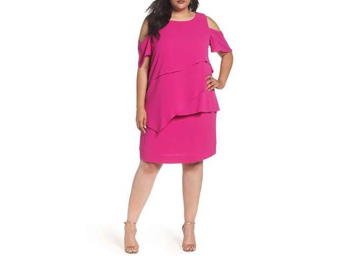 tahara pink cold shouldered dress