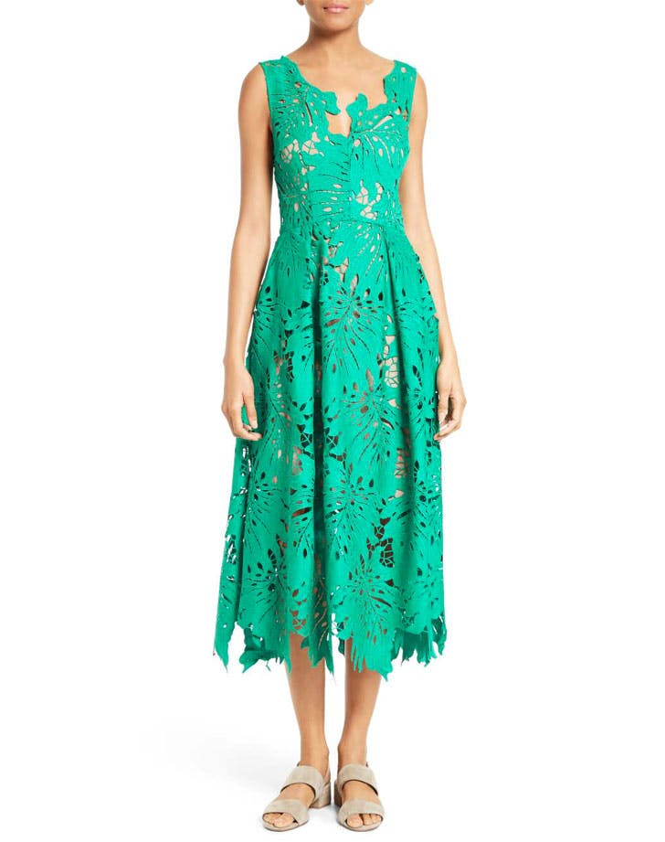 tracy reese leaf lace cutout dress tropical prints NY