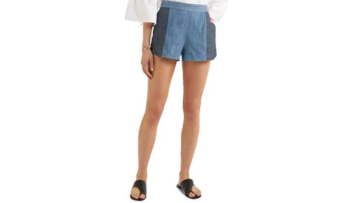 two tone chambray shorts