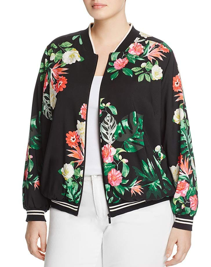 vince camuto bomber jacket tropical prints NY