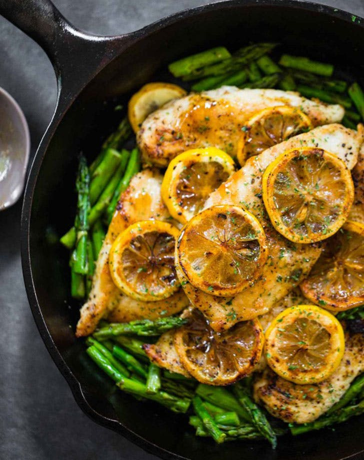 5 ingredient summer dinners lemon asparagus chicken