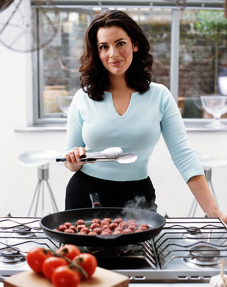 British chef Nigella Lawson cooking meatballs