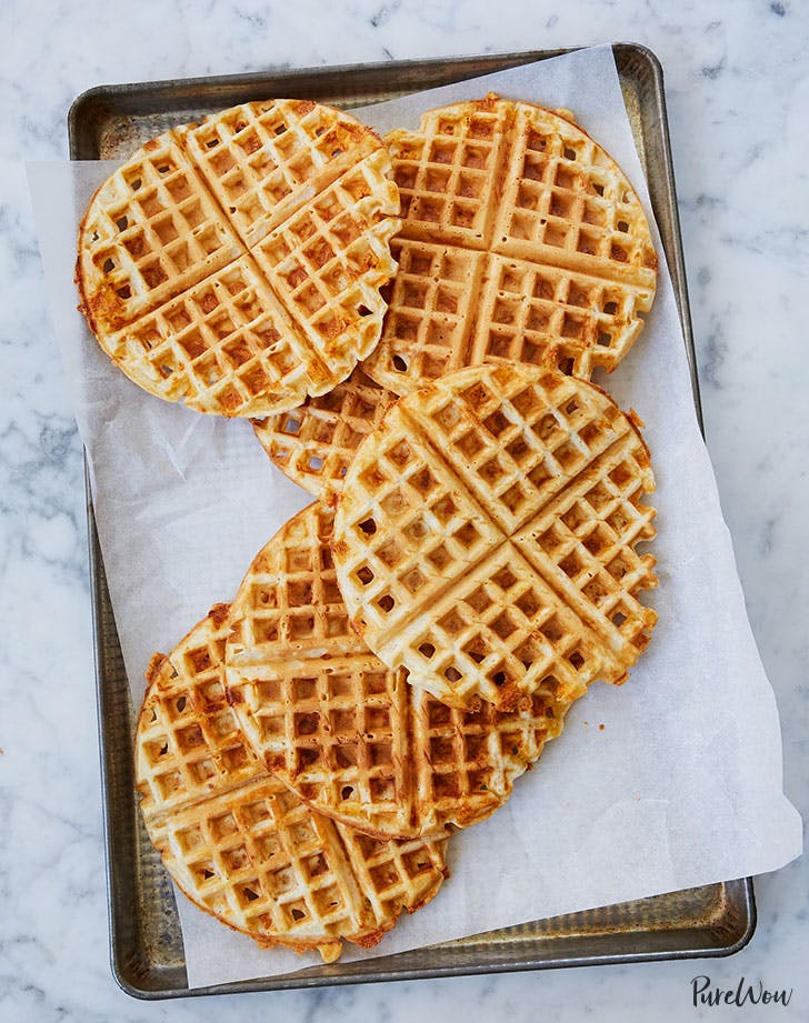 Cheese waffles made in a waffle iron