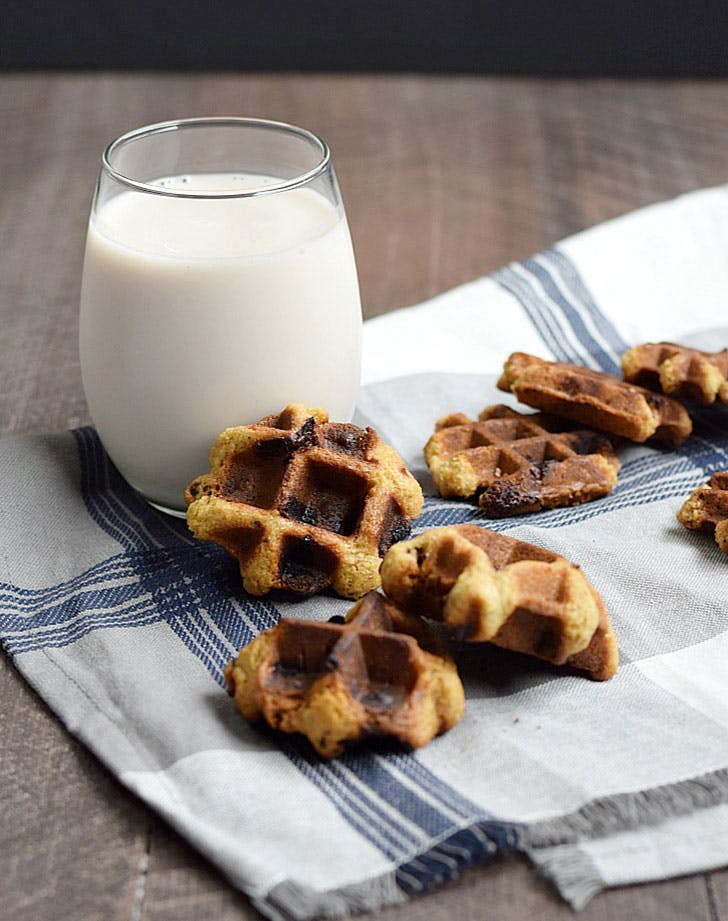 Chocolate Chip Waffled Cookies made in waffle maker